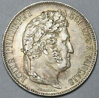 1833-W France 5 francs Louis Philippe AU Lille Mint Silver Coin (19110502R)