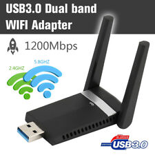 1200Mbps USB WIFI Dongle LAN Network Adapter Dual Band for Desktop PC 2.4-5.8GHz