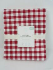 Pottery Barn Kids Organic Check Duvet Cover Twin Red #6376