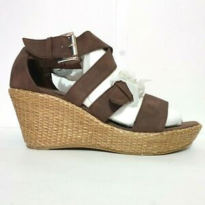 NEW I Love Billy Shoes Sz 40 Brown Wedges Strappy Buckle Platform Jimmie Heels