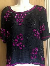 Ladies blouse size small vintage 1980s black silk top with black & pink sequins