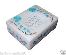 """4""""x3""""x1.25"""" Stone Antique Marble Jewelry Box Turquoise Inlaid Decor Gifts H089"""