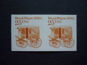 """#2136a 25c Bread Wagon EFO Imperforated Pair MNH OG VF """"Includes New Mount"""""""