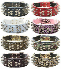 "2"" Leather Spiked Studded Dog Collar for Medium & Large Breeds Pit Bull Mastiff"