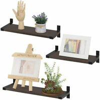 3PC Rustic Wood Wall Mounted Floating Shelves for Bathroom Kitchen (Dark Brown)