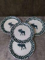 "Set Of 4 Salad Dessert Plates 7.5"" Tienshan Moose Country Folk Craft"