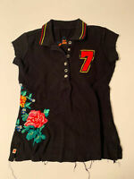 JWLA Johnny Was black embroidered Polo Shirt Women's XS