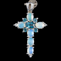 100% NATURAL 5X3MM LONDON BLUE TOPAZ & WELO BLUE OPAL CROSS SILVER 925 PENDANT