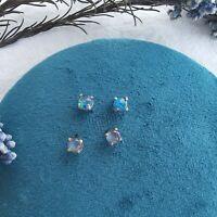 Simple Genuine Australian Opal Stud Earrings 18k Gold Plated in Sterling Silver