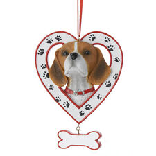 Beagle in Heart w/Dangle Bone Ornament
