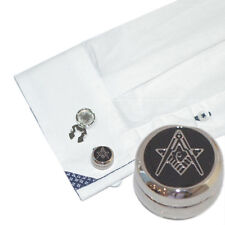Rhodium Plated Masonic G Design Cuff Button Covers
