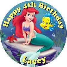 """Little Mermaid  7.5"""" Round Personalised Edible Icing Cake Topper Birthday"""