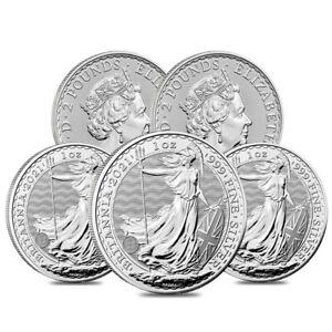 Lot of 5 - 2021 Great Britain 1 oz Silver Britannia Coin .999 Fine BU