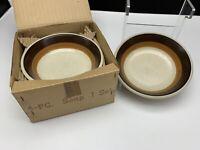 Imperial by W. Dalton - P9851 MOCHA - 4 Piece Soup Bowls - New In Open Box