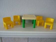 Vintage Little Tikes Dollhouse Size Kitchen Table and Four Yellow Chairs