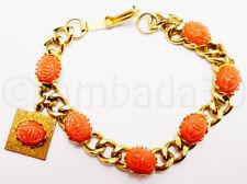 Vintage Egyptian Revival Coral Scarab Bracelet Celluloid Cabochons Heavy Link