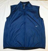 NIKE Full Zip Windbreaker Vest ~Zip Pockets Lightweight NAVY Large