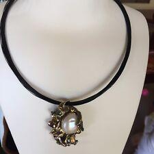 Nice Retro Style Baroque freshwater pearl Lotus Leaf Pendant/brooch S925