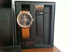 Ted Baker TE50291012 Men's Rose Gold-Tone Watch Set  Black & Brown Leather Bands