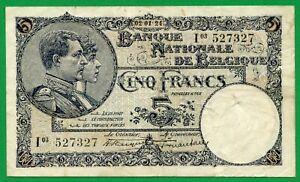 Belgium, 5 Francs, 1924, KM #93, VF