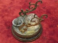 Antique Domed Glass Inkwell Pen Letter Holder Rest Metal with date Nov 15 1902
