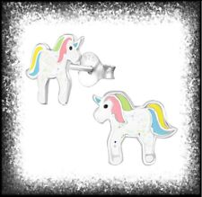 Childrens Girls Sterling Silver Pink Blue Yellow Unicorn Stud Earrings - Boxed