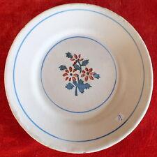 assiette faience ancienne decor fleurs pochoir fin 19eme