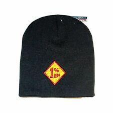 RED 1%er EMBROIDERED MOTORCYCLE  BEANIE HAT/biker/outlaw