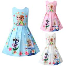 Frozen Anna Elsa Printed Princess Dress Girls Kids Tutu Skirt Party Dresses