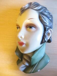 Vintage Deco Italian Wall Mask Plaque - Plaster or Chalkware