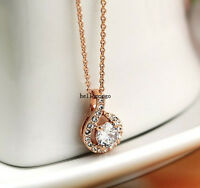 18K Rose Gold Gp Austrian Crystal Round Chain Pendant Jewelry Necklace BR653
