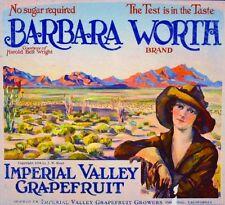 Imperial County Barbara Worth Grapefruit Citrus Fruit Crate Label Art Print