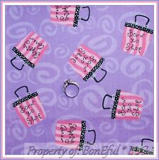 BonEful Fabric FQ Cotton Quilt Purple Pink B&W Dot Stripe American Girl Bag Shop