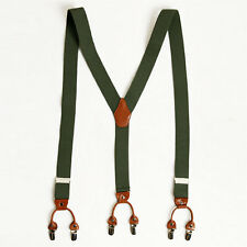 "Mens Elastic Suspenders Adjustable Braces Clip-On 1.4"" Width Khaki Olive Green"