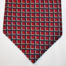 NEW Nautica Silk Neck Tie Light Brick Red w Dark Blue & Light Yellow Plaids 1330