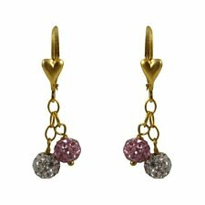 Gold Filled Shamballa Inspired Pink White Crystals Dangle Earrings