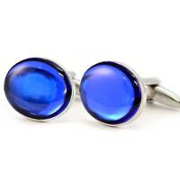 Metallic Royal Blue Cufflinks in Gift Box shiny shiney reflective sapphire NEW