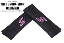 "2x Seat Belt Covers Pads Black Leather ""S"" Purple Embroidery for Ford"