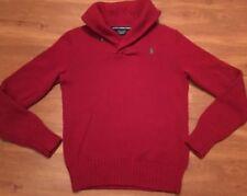 Mens Polo RALPH LAUREN Sport Red Shawl Collar Sweater Size Medium