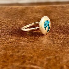 MEXICO STERLING SILVER INLAY TURQUOISE MUSHROOM RING - SIZE 6.5