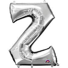 """Lettera Z argento Foil Balloon 16"""" 40cm Aria Riempire Nome Età Compleanno Anniversario"""