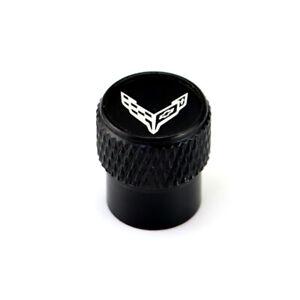 Chevrolet Corvette C8 Laser Engraved on Black Aluminum Tire Valve Caps Total 5