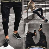 Men's Slim Fit Ripped Jeans Black Skinny Denim Pants Destroyed Frayed Trousers
