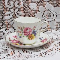 ROYAL GRAFTON CUP & SAUCER FLUTED FLORAL GOLD RIM ENGLISH BONE CHINA 1517 TEACUP