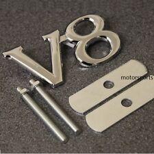 High Quality Chrome V8 Grill Badge Emblem Logo Decal  Metal Car Van Grille v8g