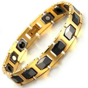 Mens Gold Black Tungsten Bracelet Ultra Strength Magnets Bio Therapy Arthritis