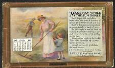 PAW PAW MICHIGAN BANK CALENDAR FARMING HAY MAKER ADVERTISING POSTCARD 1912