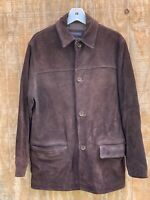 Vintage Banana Republic Brown Suede Leather Jacket Size Small Button Heavy Coat