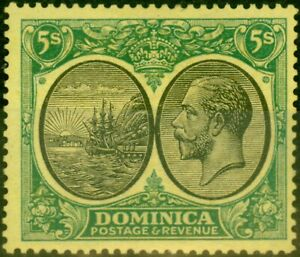 Dominica 1927 5s Black & Green-Yellow SG88 Fine Mounted Mint