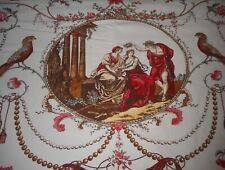 Vintage French Neo Classic Figural Bird Toile Cotton Fabric ~Red Brown Coral